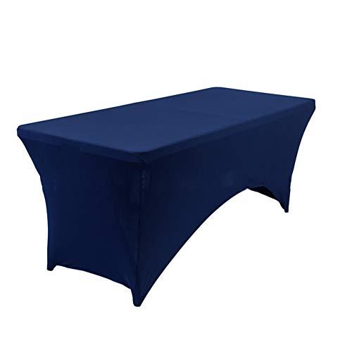 Stretch Cocktail Tisch-abdeckung,Rechteckige Leinen Tischdecken Elasthan Ausgestattet Tisch-abdeckung Für dj Tabelle abdeckungen In ihrem zuhause Tischdecken Massage-Marine 8FT(244*76*76cm)