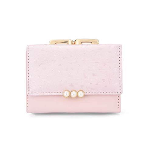 Fenical Portemonnaie PU Faltbare Geldbörse Kurze Geldbörse für Damen Lady (Pink)
