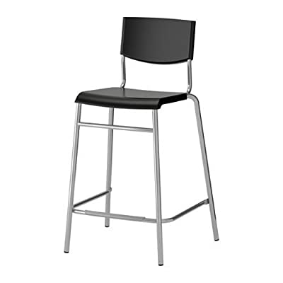 STIG - Bar Stool With Backrest Black, Silver-Colour produced by IKEA - quick delivery from UK.