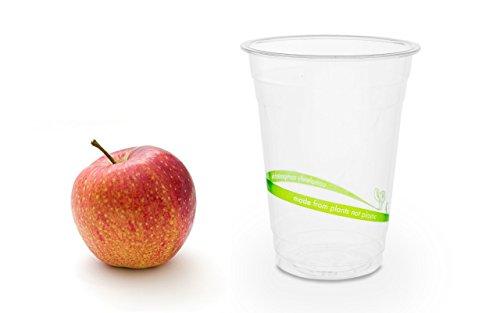 Eiskaffee Großer Becher (50 Bio Einwegbecher | umweltfreundliche Trinkbecher | Smoothiebecher | Ausschankbecher ohne ungesunde Stoffe | kompostierbare bio Plastikbecher | Casparo Eco Design)