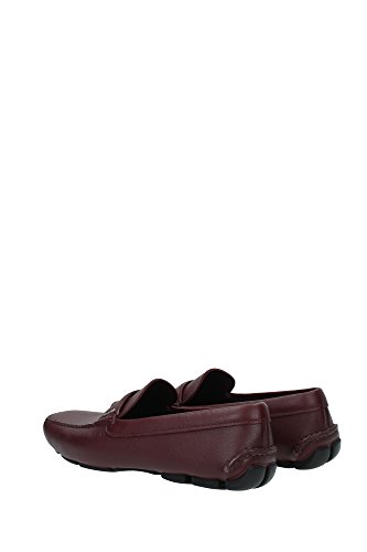 2DD001GRANATO Prada Mocassins Homme Cuir Rouge Rouge