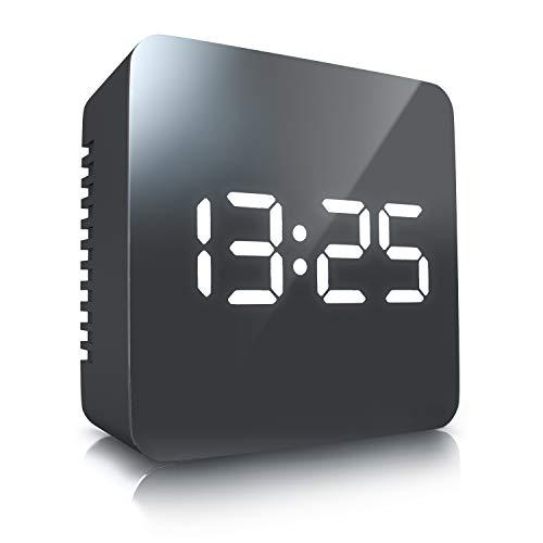 CSL - LED Wecker digital   Reisewecker inkl Temperaturanzeige / Alarmwecker   Spiegelwecker   Innen-Temperaturanzeige   Schlummerfunktion   12-/24-h-Format   Nachtmodus   2x Helligkeitsstufen   Intuitive Tasten-Bedienung   schwarz