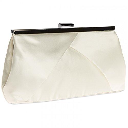 CASPAR klassische Damen Satin Clutch/Abendtasche in stylischem Design - viele Farben - TA320, Farbe:perlmutt