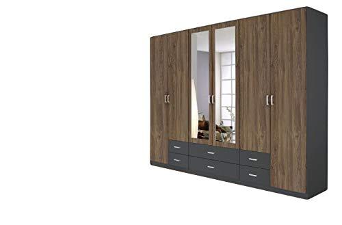 Kleiderschrank Braun/Grau 6 Türen B 271 Kinderzimmer Jugendzimmer Spiegelschrank Wäscheschrank Drehtürenschrank -