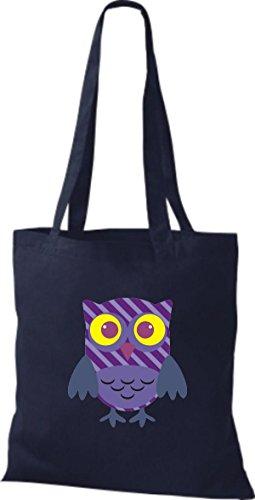 ShirtInStyle Jute Stoffbeutel Bunte Eule niedliche Tragetasche mit Punkte Karos streifen Owl Retro diverse Farbe, schwarz blau