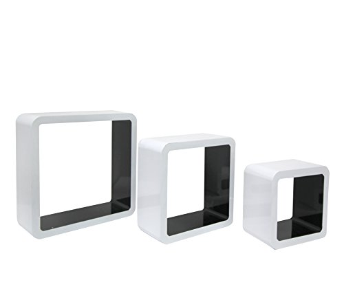 Mobili Rebecca® Lot de 3 Cube Etageres Murale Design Contemporain Bois Blanc Noir Salon Rangement Livres Cd (Cod. RE4055)