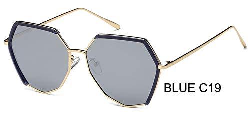 LKVNHP Marke unregelmäßigenRahmen Silber Hexagon Sonnenbrille polarisierte männer ModeAnti-reflektierendefahrbrille FrauenmitBox wpgj119 blau c19