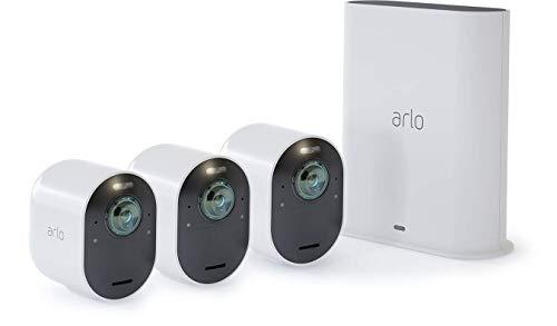 Arlo Ultra VMS5340 wifi-videobewakingssysteem met 3 4K beveiligingscamera's, 2-weg audio, licht, Bluetooth, 180 ° dag / nachtzicht, binnen / buiten, compatibel met Alexa en Google Wi-Fi