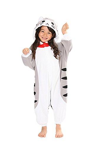 Kinder Fleece Onesie - Katzen Kostüm 2 - 9 Jahre - Gemütlicher Jumpsuit für Fasching, Cosplay, Karneval - Plüsch Verkleidung für Party als witzige Katze in Grau Weiß