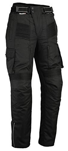 """Pantalon Moto imperméable Style Cargo - Cordura/élasthanne - Renforts certifés CE-1621-1 - Noir - M - 32""""/81 cm Longeur de Jambe 30""""/76 cm"""