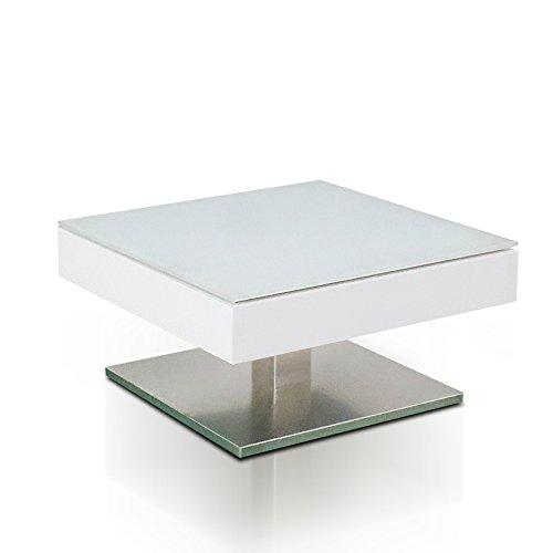 Glas-tischplatte Quadratische (Design Couchtisch MARIKO Original MCA edelmatt weiß Edelstahl Optik gebürstet)