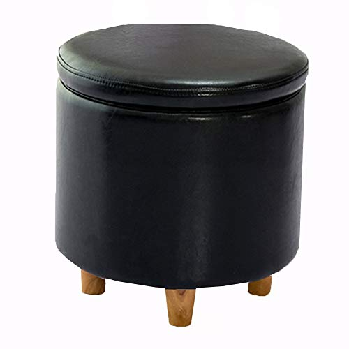 Wangdz Ottoman Portable Folding Storage Box Einzel-Hocker aus Holz, spart Platz im Innenraum (Farbe : SCHWARZ) - Schwarz Osmanischen Folding