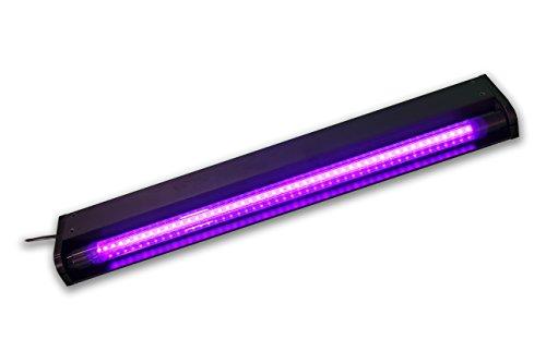 SATISFIRE® LED-UV-Röhre 60cm Komplettset | 10W High Power LED Schwarzlicht mit Schalter | Lange Lebensdauer (ca. 30.000 Stunden) | Bruchsicher | wechselbare UV Röhre | 1,1m Zuleitung | Eurostecker