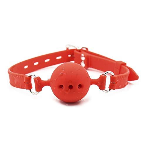 Canarea Knebel Mund harness mit Ball Gag Silikon Harness Geschirr sex sm fetisch Breathable Ball Gag Mundknebel Ballknebel sexspielzeug Für Anfänger Paare Verstellbar-Rot (S)