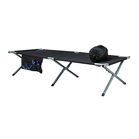 Relaxdays Feldbett, nachstellbar, ausklappbar, Aluminium, Seitentasche, Camping, HBT: 46,5 x 78 x 210 cm, schwarz-silber