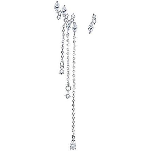 Argento Sterling Mismatched asimmetrici cristallo catena nappa pendente Orecchini pendenti orecchini gioielli da sposa donna - Catena Nappa Orecchini