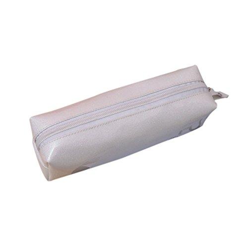 Qifumaer Trousse Scolaire en Toile, Grand Maquillage Plumier cosmétique Stylo Crayon Papeterie Stockage Sac Pochette Size 20 * 6 * 6CM (Blanc) Qifumaer