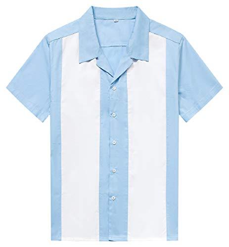 Herren 50er Jahre Männliche Kleidung Rockabilly Stil Fifties Button-Down Kleid Shirts Gr. M, hellblau