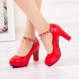 hexiaji 21cm-26.5ccm chaussure femme chaussure haut talon chaussure perle chaussure rose blanche Rouge