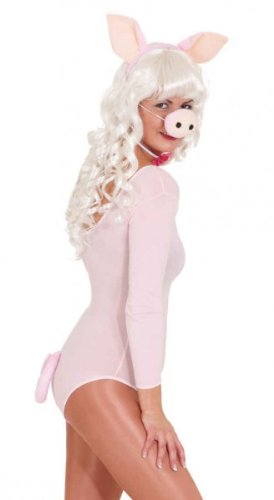 Kind Piggy Kostüm Miss - Schweine-Set : Haarreif mit Ohren, Nase, Schleife, Schwanz