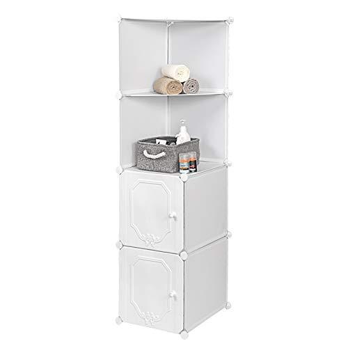 Eugad libreria componibile a cubo scaffale portaoggetti armadio modulare a 4 scompartimenti fai da te design in 3d 39 x 47 x 144cm bianco 0159xjyj-1
