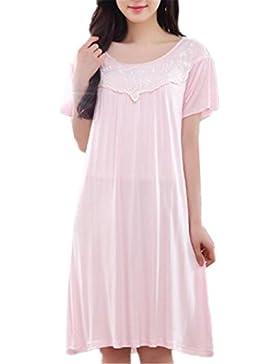 BESTHOO Vestito da Pigiama Donna Vestito da Notte Manica Corta Camicia da Notte Estive Femminili Sleepwear Morbidi...