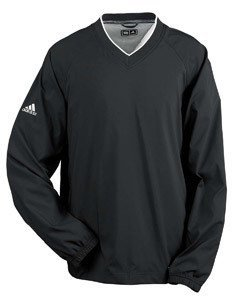 Adidas Men's V Neck Breathable water Resistant Windshirt, Small, Black/White (Windshirt Adidas)