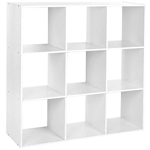 Homfa libreria mobile per archiviazione con mensola in legno, scaffale cubo per libri cd pianti modelli bianco (9 cubi)