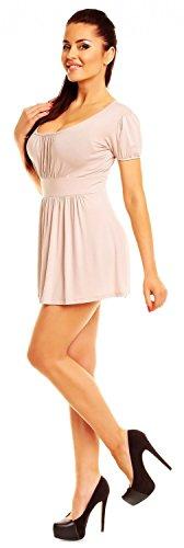 Zeta Ville- Damen Jersey Empire-Taille Shirt Kurzarm Tunika-Top Gr. 38-46 - 408z Ekrü