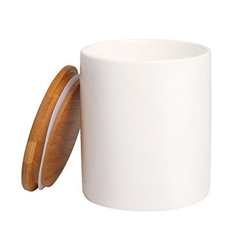 77L Vorratsdose, 1050 ML (35.47 oz), Keramik Vorratsdose mit luftdichtem Verschluss Bambusdeckel - Modernes Design Weißer Vorratsbehälter aus Keramik zum Servieren von Tee, Kaffee, Gewürz und Mehr