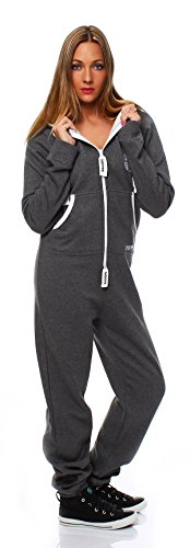 Gennadi Hoppe Damen Jumpsuit Onesie Jogger Einteiler Overall Jogging Anzug Trainingsanzug - SLIM FIT Grau