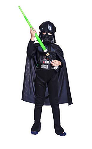 - 7-8 Jahre - Star Wars Kostüm - Darth Vader Warrior - Kind - Kleinkind - Karnevalsverkleidung - Halloween - Cosplay - Zubehör - Maske - Schwert ()