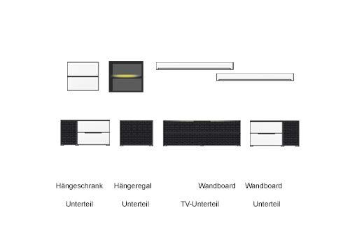 8-tlg Wohnwand in Hochglanz weiß/grau mit Akustik-Fächern und LED-Beleuchtung, Gesamtmaß B/H/T ca. 383/170/51 cm - 2