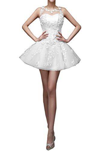 La_Marie Braut Romantisch Spitze Tuell Cocktailkleider Partykleider Tanzenkleider Mini A-linie Neuheit Weiß