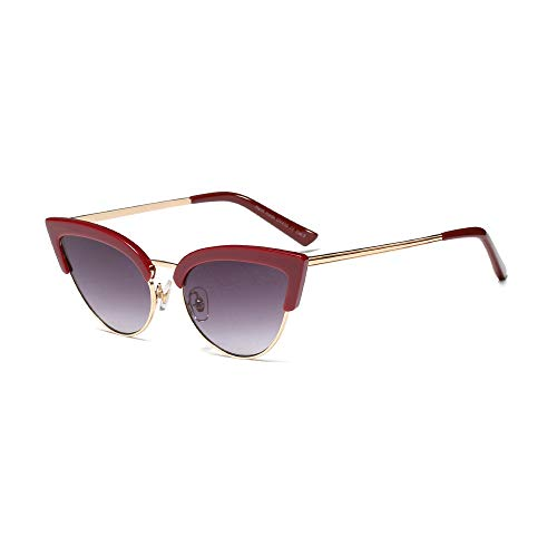 MINGW- Trending Half Frame Sunglasses for Women White Black Sexy Cat Eye Sun Glasses Female Gift Items