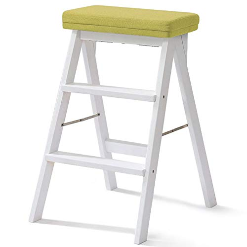 HAIPENG Escalera Plegable Madera Hogar Simple Portátil Multifuncional, 3 Colores, 42X48X64cm (Color : White Legs-3#)