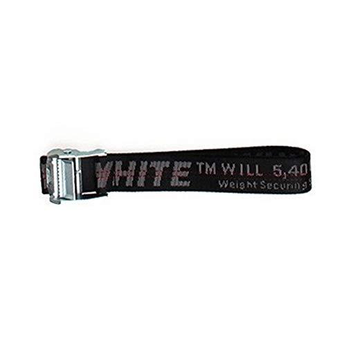 ow belt yellow letter off metal buckle decoration leisure canvas belt street fashion white belt Womens Black Metal