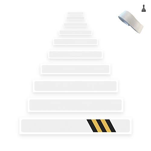 Any Beauty 15er Pack (10 x 60 cm) rutschfest stufenmatten transparent klar selbstklebend Stufenmatte Treppen stufe antirutsch, Anti Rutsch Clear Adhesive Strips Klebestreifen, Baby/ältere/Pet, Indoor (Weiß Pet Treppe)