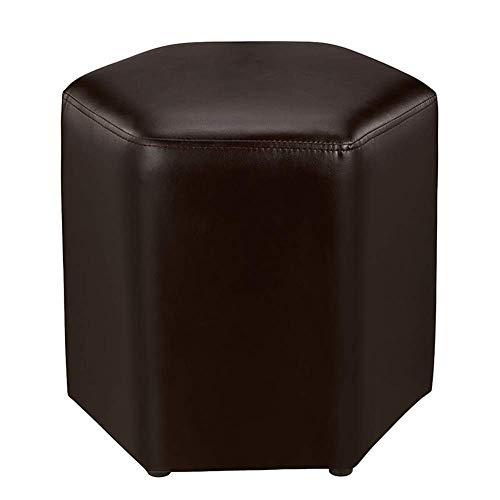 Kylinplm Barhocker, bar Stuhl Sofa Hocker Ändern Schuh Bank Einfache Pu-Leder Niedrigen Hocker Kreative Hexagon Moderne Knöchel Couchtisch Sitz (Color : Dark Brown) -