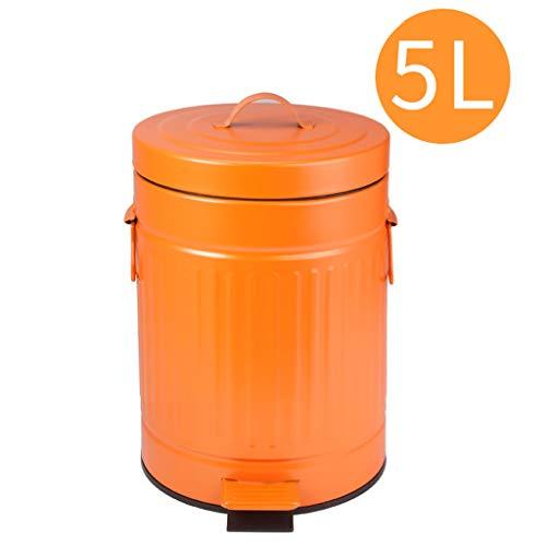 Waste Bin Abfalleimer, Home Kitchen Mülleimer - Badezimmer Wohnzimmer Retro Römischer Pedal Trash - 5L Mülltonnen (Farbe : Orange) 5l Retro-pedal-bin