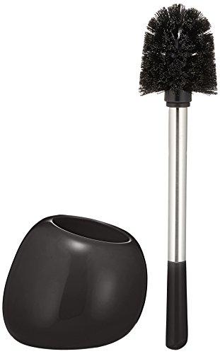 Wenko WC-Garnitur Polaris aus Keramik in schwarz, 19 x 14.6 x 34.6 cm