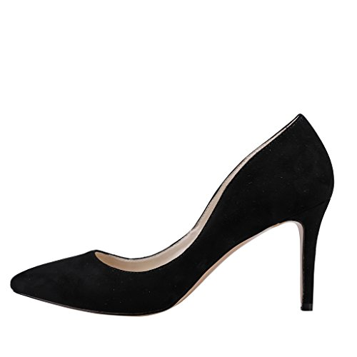 EKS Damen Pointed-toe Stilettos Heels Dress Pumps Schwarz-Wildleder
