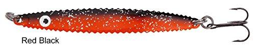 Hansen Lotus Lures 9,8cm Meerforellenblinker, Meerforellenköder, Küstenblinker, Mefoblinker, Mefoköder, Blinker für Meerforellen & Hornhecht, Länge / Gewicht:9.8cm / 18g;Farbe:Red Black