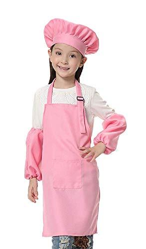 Inception pro infinite (Pink) Einheitsgröße - Kostüm Uniform Chefkoch Kinder Hut Schürze Ärmel Verkleidung Karneval Halloween Cosplay Zubehör Unisex Kind Mädchen