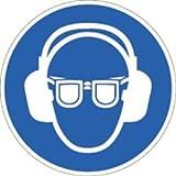 Aufkleber Gehörschutz und Augenschutz benutzen Folie