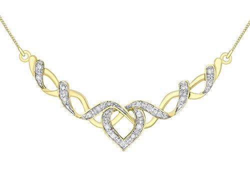 Carissima Gold 9 Karat Zweifarbig Gelbgold 0.10 Karat Diamant Herz Kette 41cm