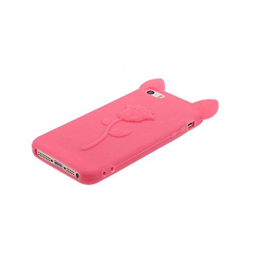 Coque iPhone 5, iPhone 5S Case [ TPU 3D Cartoon Rose Oreilles de porc ] Skin Cover iPhone 5G SE 5s 5C Étui, Shell souple durable anti-chocs Rose & ring Support Rose