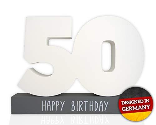 Huckleberry Home Gästebuch Geburtstag Holz inkl. Stift - Gästebuch für den 50. Geburtstag aus Holz - 50 Geburtstag für Männer und Frauen - Kreatives Geschenk - Holzgratulant (Weiß / Grau 50)
