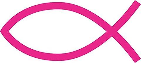 3 x 1.5 Pink Christian Fish Sticker Vinyl Cup Stickers Car Bumper Decal by StickerTalk®