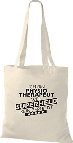 Shirtstown Stoffbeutel Ich bin Physiotherapeut, weil Superheld kein Beruf ist natur